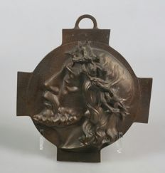 Cast bronze plaque of Christ, signed and dated