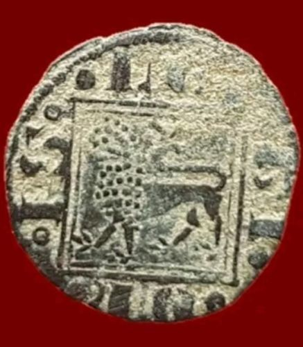 Spain - Alfonso X, Obolo de Vellon (growing on top of Tower and in the Door) - 14mm/0.5g.