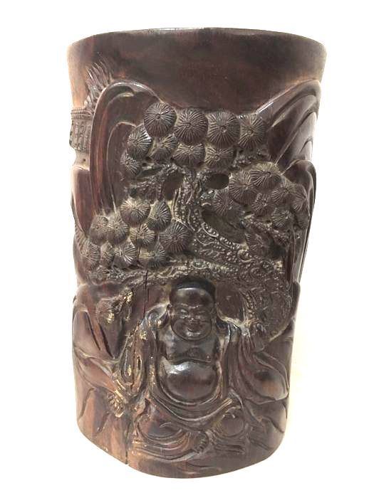 Hard wood Brush-Pot Happy Buddha carving - China -  late 20th Century.