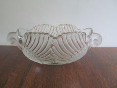 Art deco cut glass fruit bowl in the shape of 2 swans.