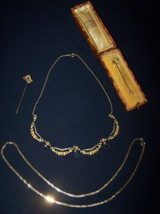 """Collection of 4  early 20th century gold filled pieces from the French designers and makers """"FIX""""."""