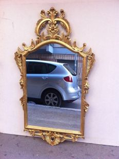 French mirror in wood and gold leaf - mid-20th century
