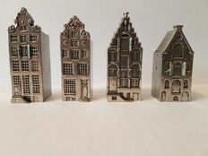 Four beautiful antique miniature Amsterdam canal houses