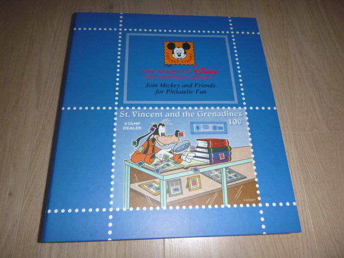 Disney - stamp album and stock book filled with series and