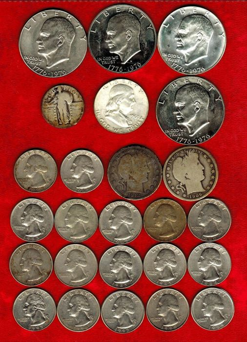 USA - 25 coins of differents value  1 dollar Eisenhower (4