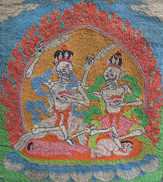 Embroidered thangka with two citipati shades – Mongolia/Tibet – first half of the 20th century