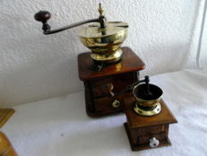 2 wooden 19th century coffee grinders