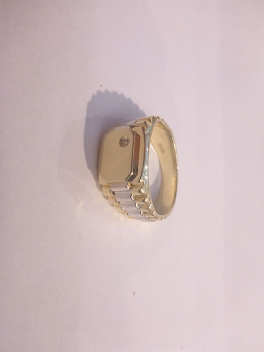 14 kt Bicolour gold ring with approx. 0.01 ct diamond, size 20