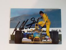 Michael Schumacher signed autograph postcard with certificate of authenticity