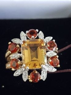 18kt Yellow gold ring with semi precious stone, colored sapphires and diamonds ct 0,23 -  size 56