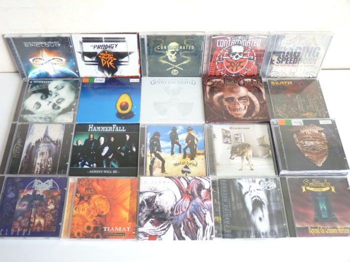 Lot with 20  Doom -,Trash -,Heavy Metal and Hard Rock cd`s: Solitude Aeturnus, Tiamat (2x),´Motörhead,Contaminated (2x), In Flames, My Dying Bride, Six Feet Under, Nuclear Blast, the Prodigy(2x), Pearl Jam e.o.
