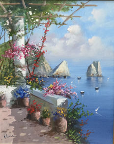 Laricchia Vincenzo (20th century) -  view of Capri with stacks