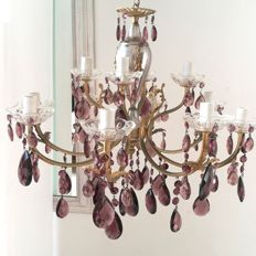Maria Theresa style 12-light artistic chandelier - original vintage - with purple amethyst coloured drops