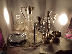 a joblot of vintage silverplated kitchenwear and trays with a wine decanter
