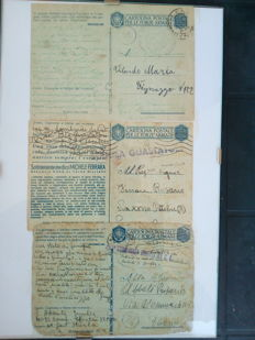 Lot composed of three postcards for armed forces, a medal, Vittorio Emanuele, officer stripes
