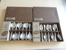 "Vintage Silver Spoons ""BUTLER CUTLERY"" Boxed - Made in Sheffield England Plated - 2 silver plated boxes - 6 melon spoons - 6 grapefruit spoons - England"