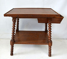 Dutch oak sewing table with drawer, Holland, ca 1900.