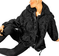 Modern fur jacket black Persian lambskin with zipper