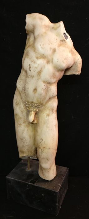 Male nude torso in Greek Thassos marble with Nero Portoro marble base - Italy, Venice - early 19th century