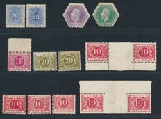 Belgium 1870/1916 -  Collection of Telegram and Postage Due stamps - COB TX2, TG3, TG4, TX10, TX, 13, TX14