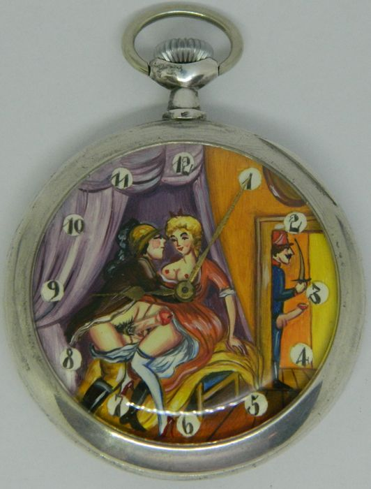 Omega erotic automaton pocket watch - 'caught in a boudoir  - ca 1910