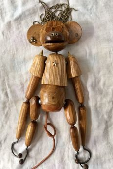 Handcrafted solid wood toys, monkey, punk hook