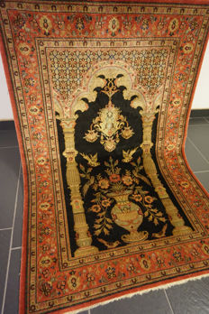 Semi antique handwoven Persian carpet Ghom Ghoum Qom wool with silk 102 x 159 cm made in Iran