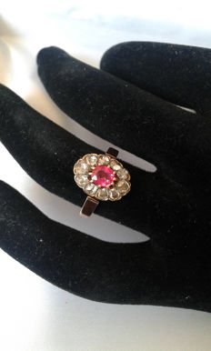 Gold 18K - diamonds and rubis 1 carat  **NO RESERVE PRICE.**