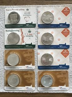 The Netherlands - 5x royal medals and 3x King's tenner 2013 Willem Alexander in coin card.