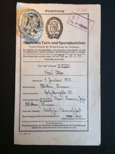 German gymnastics and sports badge with Charter from 3rd  Feb. 1933