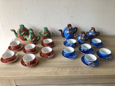 Satsuma 2 eggshell porcelain tea sets, dragon pattern