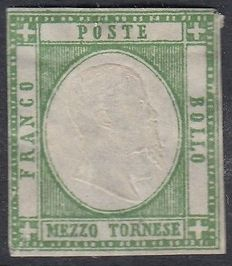 Neapolitan Provinces 1861 - 1/2 tornese, olive green - Sass. no. 17b