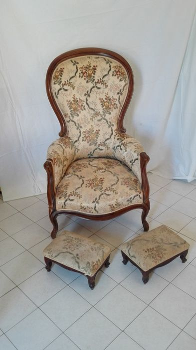 Armchair with 2 footstools - France - 19th century