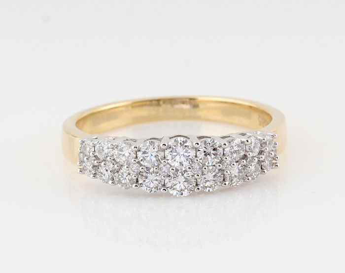 14kt. diamond ring 0.76ct / 18 brilliants / (G-H)-VVS2-VS2 / size: 56 / weight: 3.20gr.