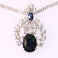 Vintage white gold sapphire and diamond pendant with necklace from the seventies