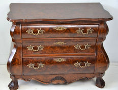 Baroque style burl walnut double curved dresser, Holland, 20th century.