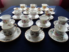 Collection of 17 English porcelain, fine bone China cups and saucers