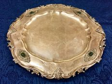 Silver Salver tray decorated with cabochon stones - Italy Milan - 20th century