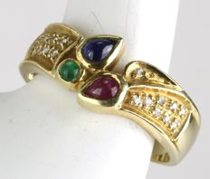 14Kt. Gold ring set with 3 multicolour cabachon natural gems Emerald, Ruby, Sapphire and 17 small in old octagon cut diamonds for a total of 0.46ct of gems.