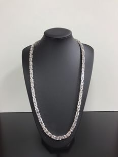 Silver king's braid necklace (925)K - 249 grams - 80 cm