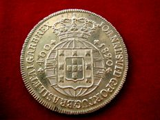 Portugal – Juan VI (1816 – 1826) silver coin of 400 reis (new crusader of 480 reis), Lisbon 1820