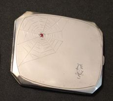 Art Deco Solid Silver Cigarette Case w/ Ruby Spider