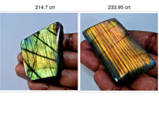 Large  Labradorite Specimens  -  53 mm x 43mm & 63 mm x 33 mm -- 448.65 crt (2)