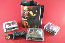 Playstation 3 80GB (PS3) with custom Streetfighter IV cover and Street Fighter Fightpad and 9 games