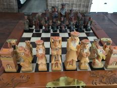 Chinese wooden chess game in wooden folding box