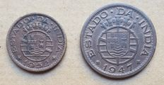 Portuguese India / Republic – 2 coins – 1 Tanga 1947 & 1952. Above Average