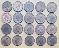 Portugal - Large lot of 20 copies - 5 Réis 1910 – Manuel II . Above Average