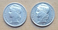 Portuguese Republic – 2 coins – Pair – 20 Centavos 1913 & 1916 . Above Average