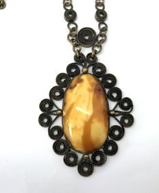 Old necklace pendant with natural Baltic amber (not pressed, not heated) - 30 gr.