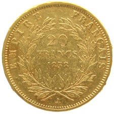 France – 20 francs 1858A - Napoleon III – gold